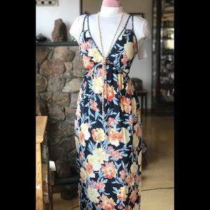 Goddess Tropical Print Tie Waist Maxi Dress NWT